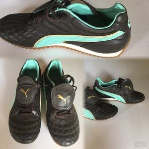 Puma , Brown  Leather Lace Up, with Logo Print,